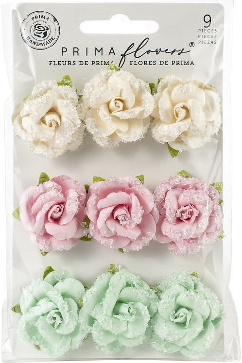 Prima - Dulce - Fluffy Candy - Mulberry Paper Flowers - 9 Pieces