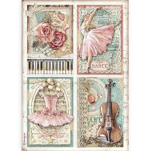 PRE ORDER - Stamperia - Passion - Cards - Rice Paper A4