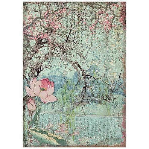 Stamperia - Sir Vagabond in Japan - Oriental Tree - Rice Paper A4