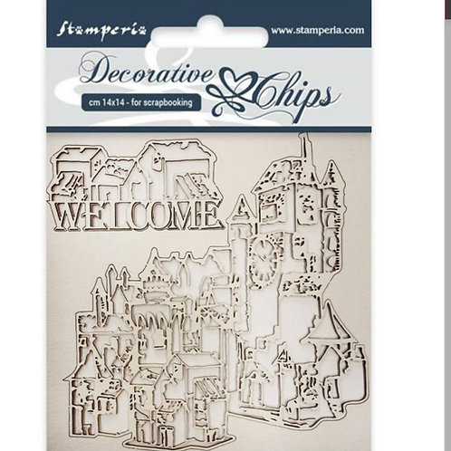Stamperia-Decorative Chips-Welcome