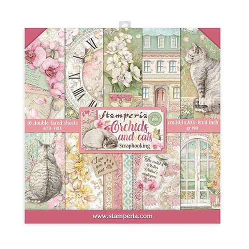 Stamperia - Orchids & Cats - 8x8 Paper Pad - 10 Sheets - 22 Designs