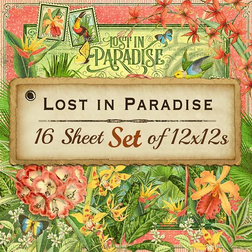 Graphic 45-Lost in Paradise-16 Double-Sided-12x12 Designer Sheet Set