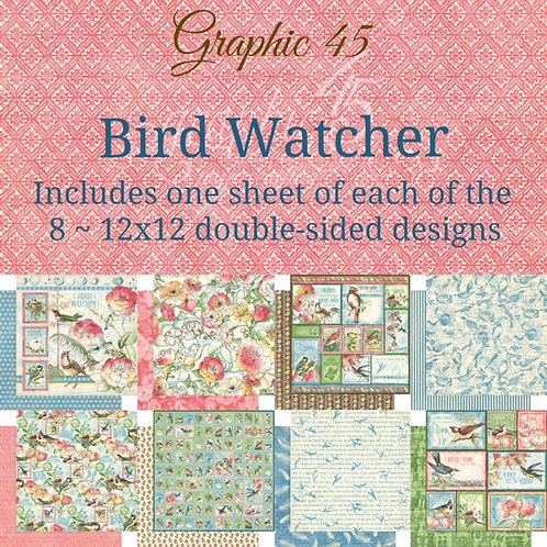 Graphic 45 - Bird Watcher - 8 - 12x12 Double-Sided Sheets (No Cover)