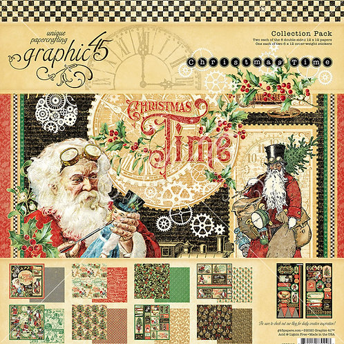 Graphic 45-Christmas Time-12x12 Collection Pack w/Stickers