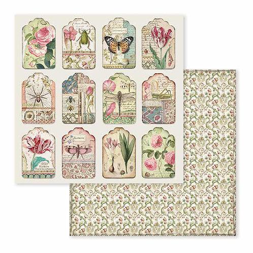 Stamperia-Spring Botanic Tags - 2 - 12x12 Single Sheets-Item #SBB591