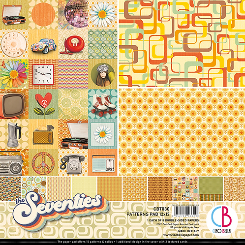 Seventies by Ciao Bella-8-12x12 Double-Sided Papers-CBT030
