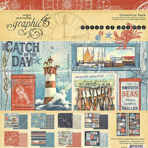 Graphic 45-Catch of the Day-12x12 Collection Pack w/Stickers