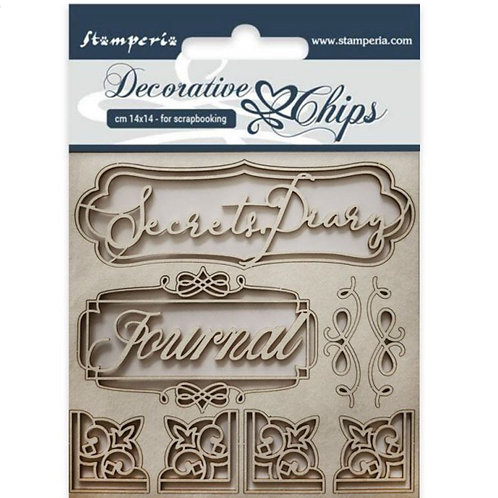 Stamperia-Decorative Chips-Secret Diary
