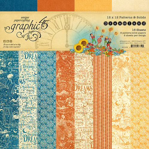 Graphic 45-Dreamland-Patterns & Solids-12x12 Paper Pad