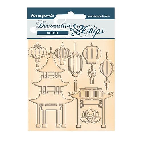 PRE ORDER Stamperia-Sir Vagabond In Japan-Pagoda & Lamps-Decorative Chips