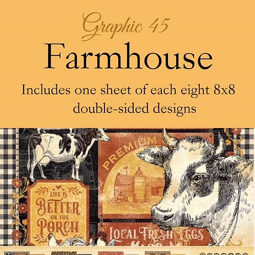 Graphic 45-Farmhouse- 8 - 8x8 - Double-Sided Single Sheets (no cover)