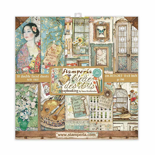 Stamperia - Atelier Des Arts - 8x8 Paper Pad - 10 Sheets - 22 Designs