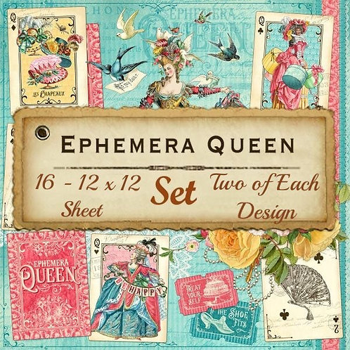 G45-Ephemera Queen -16 Single 12x12 Double-Sided Sheets (No Cover)