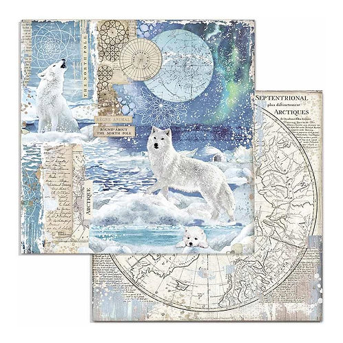 Stamperia-Arctic Antarctic Wolf- 2 - 12x12 Single Sheets