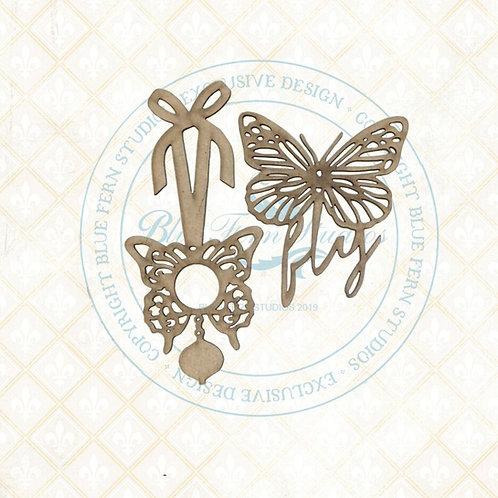 Blue Fern - Bird Waltz - Chipboard - Butterfly Charms