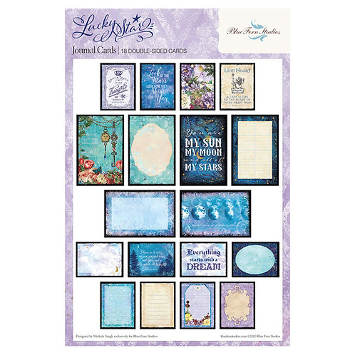 Blue Fern-Lucky Star-Ephemera Journal Cards-18 Double-Sided Cards-2 of Each Card