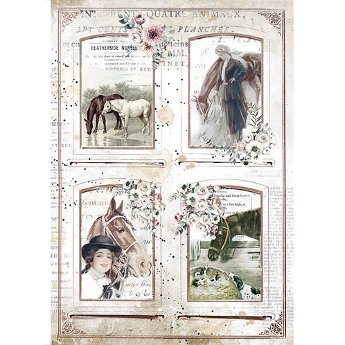 Stamperia - Horses - 4 Frames - Rice Paper A4