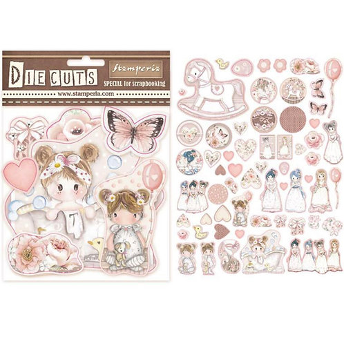Stamperia-Little Girl-Die Cuts - 60 Chipboard Pieces