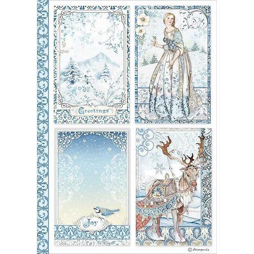 Stamperia - Winter Tales Cards - Rice Paper A4-Item #DFSA4490