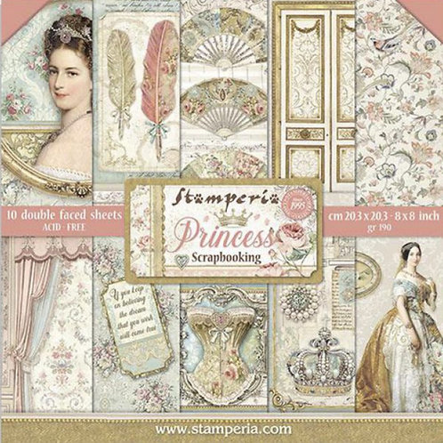 Stamperia - Princess 8x8 Paper Pack - 10 Sheets - 22 Designs