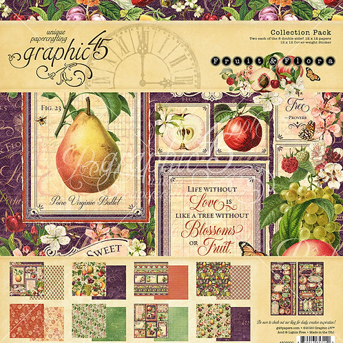 Graphic 45-Fruit & Flora-12x12 Collection Pack w/Stickers