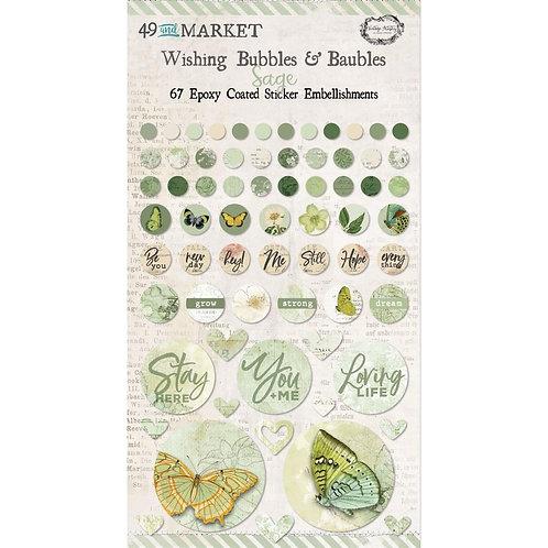 49 And Market Epoxy Coated Wishing Bubbles & Baubles 67/Pkg - Sage