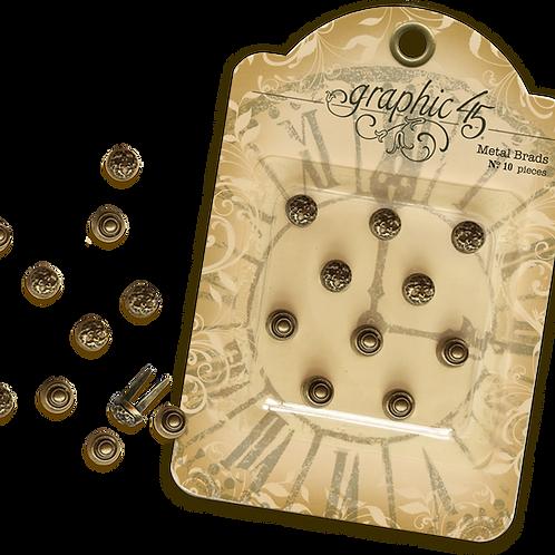 Graphic 45-Antique Brass Stamped Metal Brads