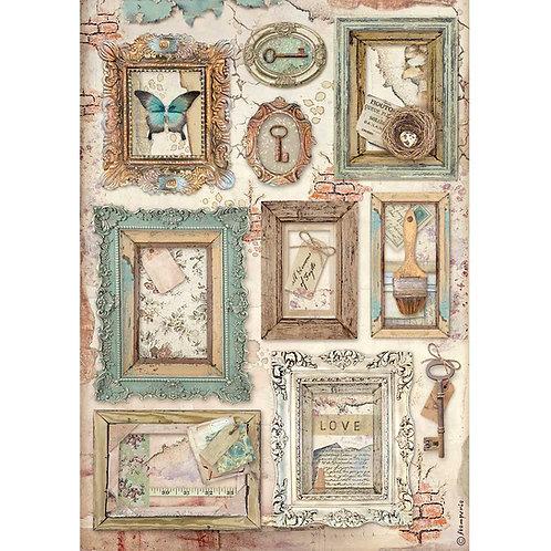 PRE ORDER - Stamperia - Atelier Des Arts - Frames - Rice Paper A4