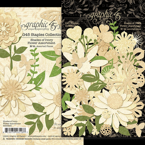 Graphic 45 - Shades of Ivory - Flower Assortment