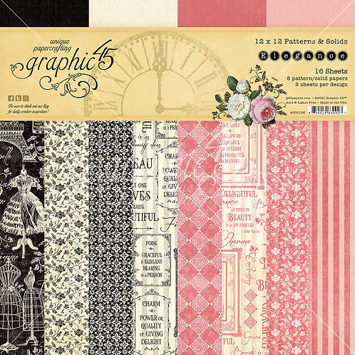 PREORDER Graphic 45-Elegance-Patterns & Solids-12x12 Paper Pad