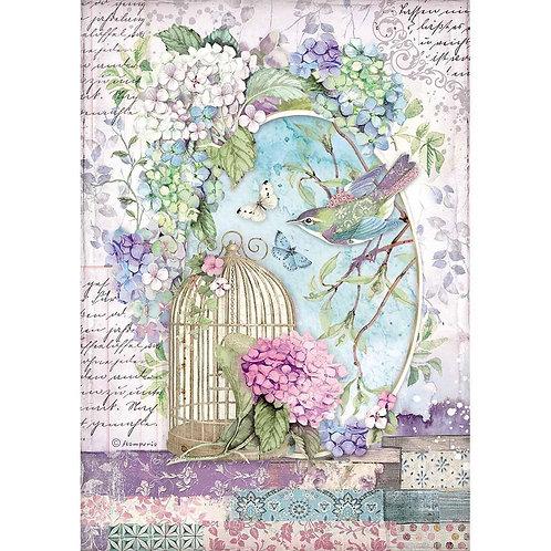 Stamperia - Birdcage - Rice Paper A4-Item #DFSA4472