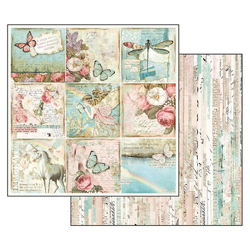 Stamperia-Wonderland Butterflies & Unicorn Cards-2-12x12 Single Sheets-SBB536
