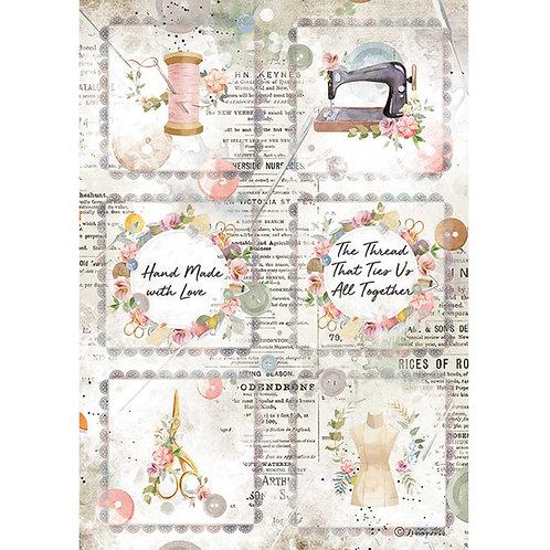 PRE ORDER - Stamperia - Threads - Mini Cards - Rice Paper A4