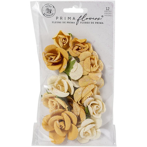 Prima - Diamond - Rising Fire - Mulberry Paper Flowers - 12 Pieces