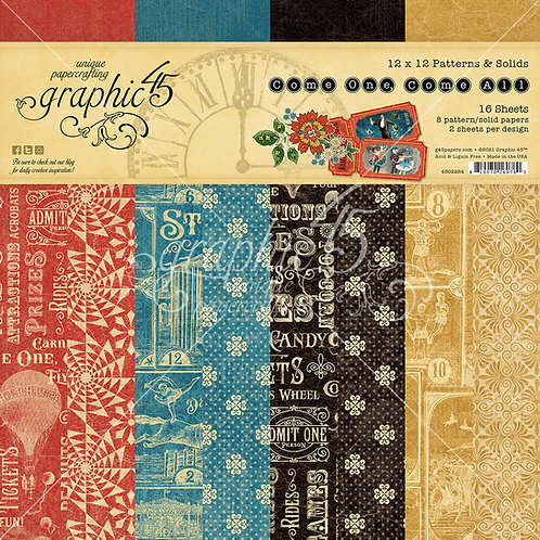 PRE ORDER Graphic 45 - Come One, Come All! - Patterns & Solids-12x12 Paper Pad