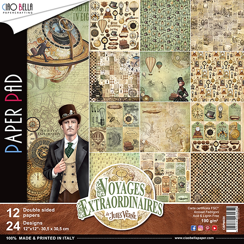 Voyages Extraordinaires by Ciao Bella-12-12x12 Double-Sided Papers-CBPM020