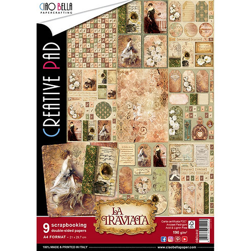 La Traviata by Ciao Bella-9 Double-Side Papers in the A4 Format-CBCL012