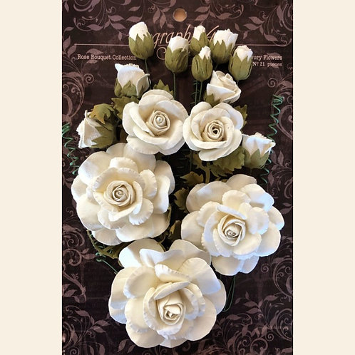 Graphic 45 - Rose Bouquet Flowers - Ivory
