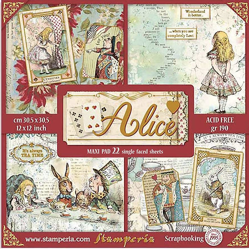 Stamperia - Alice Gold - 22 SINGLE-SIDED 12x12 Sheets