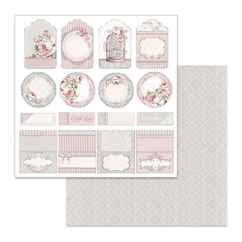 Stamperia-Wedding Tag & Placeholder - 2 - 12x12 Single Sheets-Item #SBB628