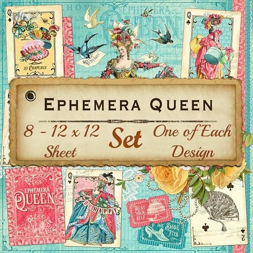 Graphic 45-Ephemera Queen-8 Single 12x12 Double-Sided Sheets (No Cover)