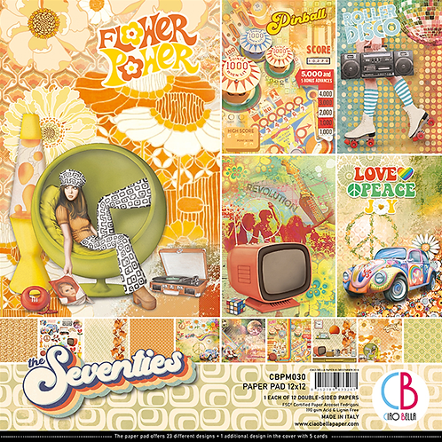 Seventies by Ciao Bella-12-12x12 Double-Sided Papers-CBPM030