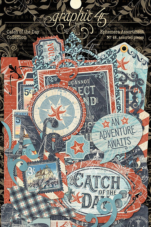 Graphic 45-Catch of the Day- Ephemera Die Cut Assortment-48 Pieces
