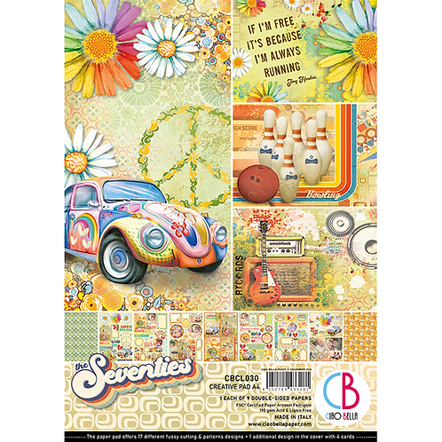 Seventies by Ciao Bella-9 Double-Side Papers in the A4 Format
