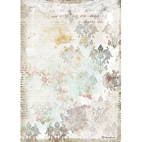 Stamperia - Journal - Texture With Lace - Rice Paper A4