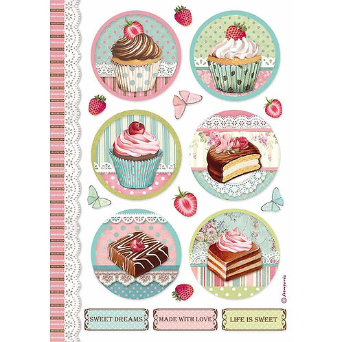 Stamperia -Sweety Round Mini Cakes - Rice Paper A4-Item #DFSA4503