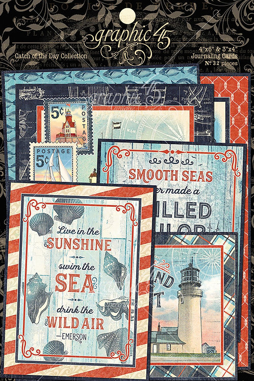 PREORDER Graphic 45-Catch of the Day-Ephemera Journaling Cards
