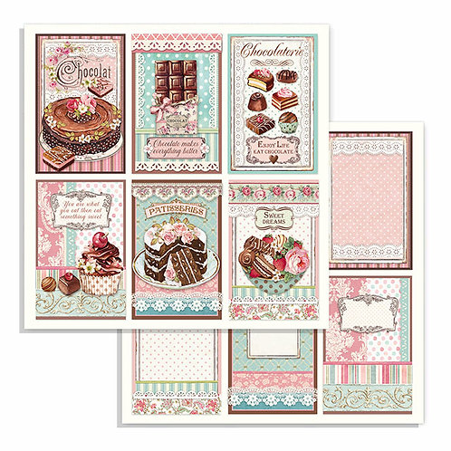 Stamperia - Sweety Chocolate  Cards-2 -12x12 Single Sheets-Item #SBB738