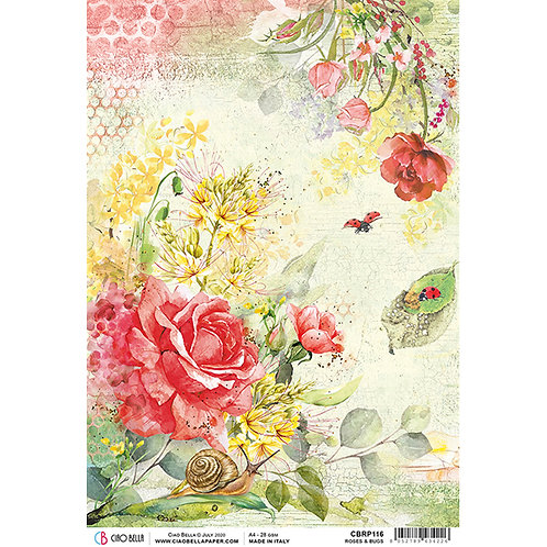 Microcosmos - Roses & Bugs - A4 Rice Paper by Ciao Bella
