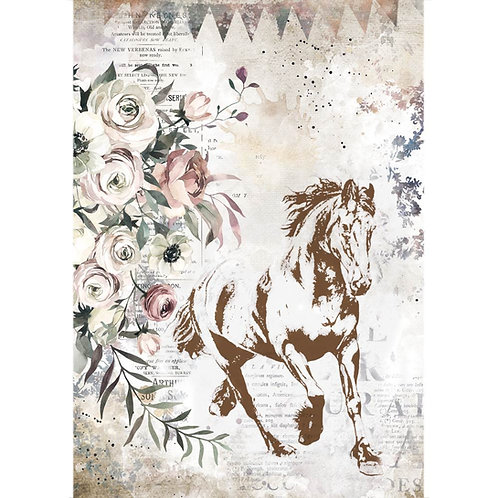 Stamperia - Horses - Running Horse - Rice Paper A4